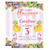 Flamingo Birthday Party Invitation Pineapple
