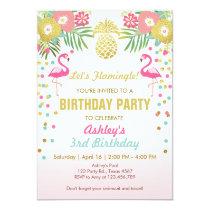Flamingo Birthday party invitation Tropical Hawaii