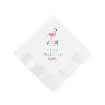 Beach Themed Flamingo Birthday Party Personalized Name Napkins