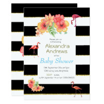 Flamingo Black Stripe Tropical Floral Baby Shower Card