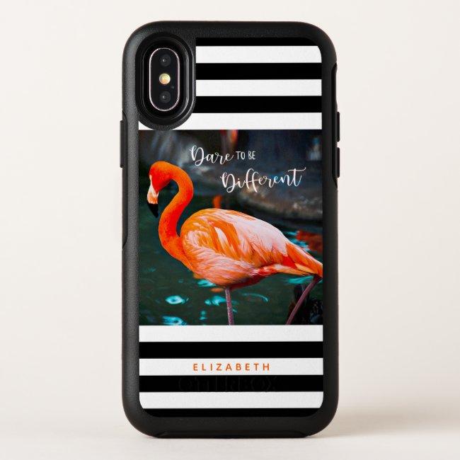 Flamingo Black White Stripes, Dare To Be Different OtterBox iPhone Case