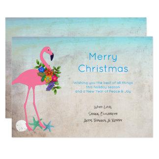 Flamingo Blue Christmas Flat Greeting Cards