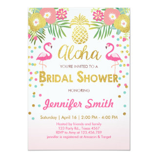 Flamingo Bridal shower invitation Tropical Pink