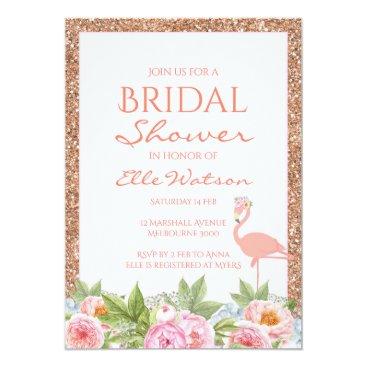 Toddler & Baby themed Flamingo Bridal Shower Invitation, Wedding Card