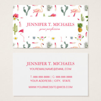 Flamingo Cactus Pineapple Hibiscus Pattern Business Card