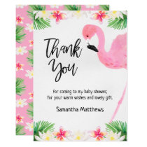 Flamingo Calligraphy Baby Shower Thank You Card