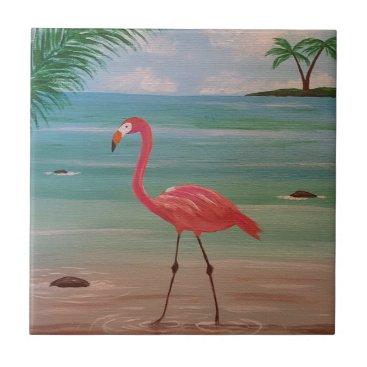 Beach Themed flamingo ceramic tile