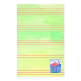 Flamingo Chartreuse Green Pink Lined Stationery