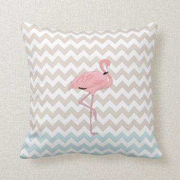 Beach Themed Flamingo Chevron Accent Pillow