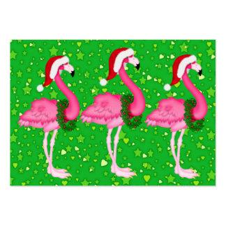 Flamingo Christmas Enclosure Card / Tag Business Card Template