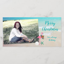 Flamingo Christmas Long Glossy Photo Card