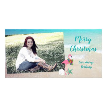 Beach Themed Flamingo Christmas Long Glossy Photo Card
