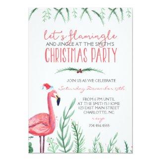 Flamingo Christmas Party Invitation