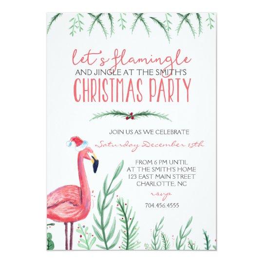 flamingo christmas party invitation - Flamingo Christmas