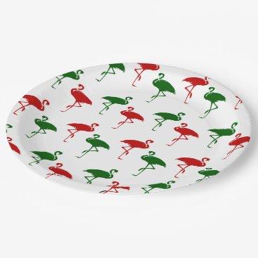 Christmas Themed Flamingo Christmas Pattern Paper Plate