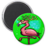 Flamingo Christmas Reindeer Fridge Magnets