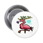 Flamingo Christmas Reindeer Pinback Button