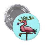 Flamingo Christmas Reindeer Pinback Buttons