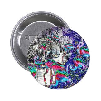 Flamingo Chrome Collection Pinback Button