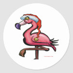 Flamingo Chrsitmas Classic Round Sticker