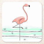 """Flamingo coasters<br><div class=""""desc"""">Stylish design with a retro touch featuring a flamingo standing in water on a white background. A customizable design for you to personalise with your own text,  images and ideas. An original digital art image created by QuirkyChic.</div>"""