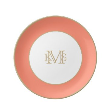 Beach Themed Flamingo Coral Peach Melon-Uptown Girl-Designer Dinner Plate