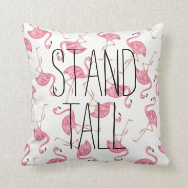 "Beach Themed Flamingo Cotton Throw Pillow -Stand Tall 16"" x 16"""