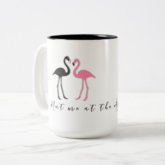 Flamingo Couple Beach Saying Meet Me Mug