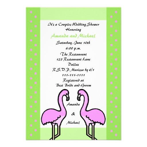 Flamingo Couple Couples Wedding Shower Invitation Personalized Announcement