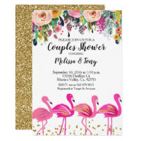 Flamingo Couple Shower Invitation Floral