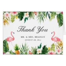 Flamingo Couple Tropical Floral Wedding Thank You