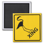 Flamingo Crossing Highway Sign 2 Inch Square Magnet