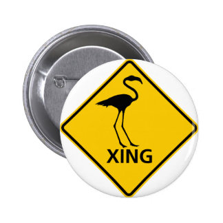 Flamingo Crossing Highway Sign Pinback Buttons