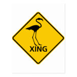 Flamingo Crossing Highway Sign Post Cards