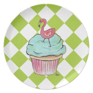 Flamingo Cupcake Checkered Plate
