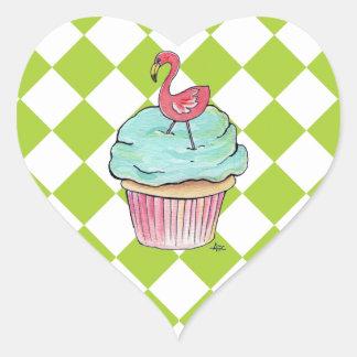 Flamingo Cupcake Heart Sticker