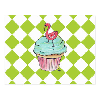 Flamingo Cupcake Postcard