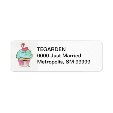Beach Themed Flamingo Cupcake Return Address Label
