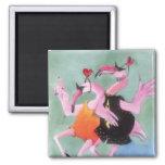 Flamingo Dance Fridge Magnet