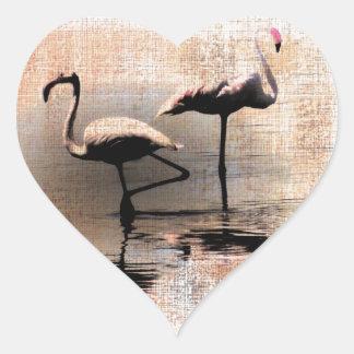 Flamingo Dreams Heart Sticker