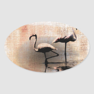 Flamingo Dreams Oval Sticker