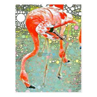 Flamingo Drinking Postcard