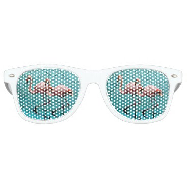 Beach Themed Flamingo Duo Eyes Retro Sunglasses