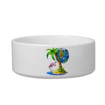 Beach Themed Flamingo Earth Pet Bowls (2) sizes