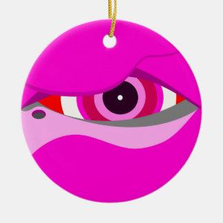 flamingo eye2 ceramic ornament