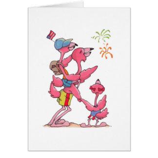 Flamingo Family July 4th Notecard