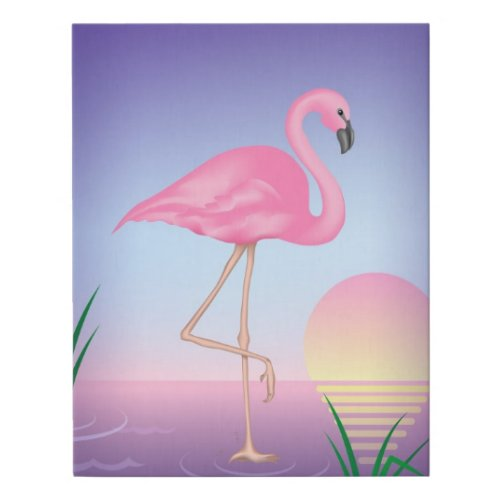 Flamingo Faux Canvas Print - pink flamingo canvas art