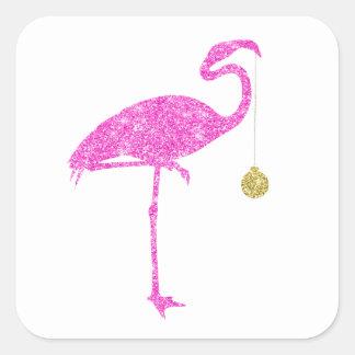 Flamingo Faux Pink Glitter Flamingos Christmas Square Sticker