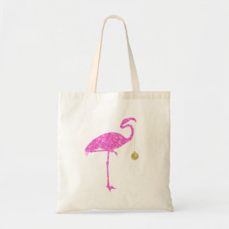 Flamingo Faux Pink Glitter Flamingos Christmas Tote Bag
