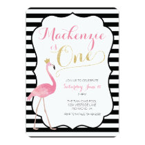 Flamingo First Birthday Invitation